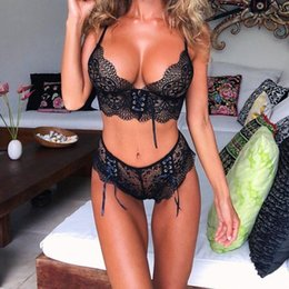 push up bra sets strings 2019 - New Lace Sexy Bra Set Push Up Seamless Wire Free Bralette Hot Rose Red Lingerie and High Waist G-string Underwear Suit F
