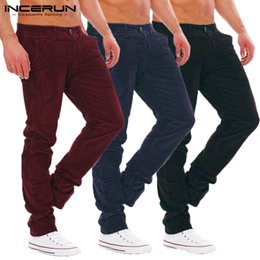 warm leisure pants NZ - INCERUN 2018 Corduroy Pants Men Button Loose Leisure Warm Trousers Men Streetwear Winter Casual Solid Fashion Straight Pants