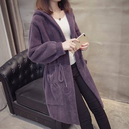 hooded knitted cardigan women NZ - High quality Imitation Mink Cashmere Coat Women Knit 2019 New Belt Hooded Loose Sweater Coat Female Cardigan Sweater Coat AN053 SH190928