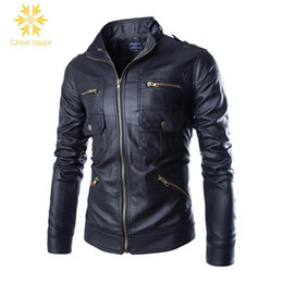 $enCountryForm.capitalKeyWord Australia - Men's Pu Leather Jacket Fashion Fit Biker Motorcycle Jacket Bomber Jackets and Coat Men ,M, 4XL 4 Zipper 2 Prockets