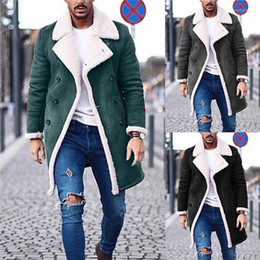 Wholesale double breasted plus size coat for sale - Group buy Fleece Warm Winter Jacket Plus Size Mens Casual Long Coats Designer Mens Solid Trench Coats Fashion