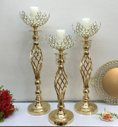 $enCountryForm.capitalKeyWord Australia - luxury wedding flower vase table centerpieces Metal Gold Candle Holders With Crystals Stand Pillar Candlestick For Wedding Candelabra