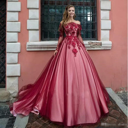 Open Back Lace Prom Dresses Australia - 2019 Luxury Long Sleeves Prom Dresses Off Shoulder Lace 3D Flowers Sweet 16 Open Back Plus Size Puffy Prom Evening Gowns Wear