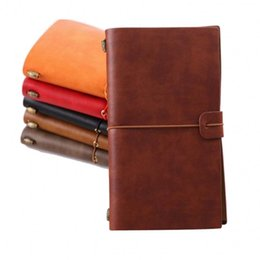 Discount leather sketchbooks - New Leather NOTEBOOK business Stationery 6 colors Office notebooks Diary Journal Sketchbook Refill Paper Notebook a diar