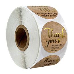 500 unids Gracias por apoyar a My Business Kraft Stickers con lámina de oro Etiquetas Redondas Etiqueta Pequeña Tienda Pegatina Hecha A Mano en venta