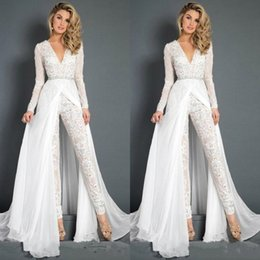 $enCountryForm.capitalKeyWord UK - Fashion White Women Lace Jumpsuits Prom Dresses Beaded Deep V Neck Overskirts Formal Evening Gowns Illusion Long Sleeves Reception Dress