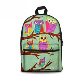 Zoo Backpack Kids UK - Customized Women Canvas Backpack Girls School Backpack for Teenagers Owl Print Female Zoo Animals Bagpack Kid Rucksack