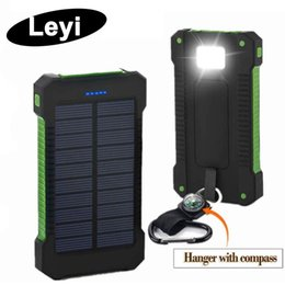 Solar panelS phoneS online shopping - 20000mah solar power bank Charger with LED flashlight Compass Camping lamp Double head Battery panel waterproof outdoor charging Cell phone