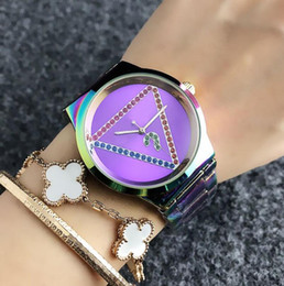 gold mark fashion NZ - Creative question mark dial fashion quality women's women's colorful crystal triangle style dial metal steel with quartz watch