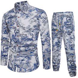 Linen Slim Shirts Australia - Art Style Handsome Man Vacation Set 2019 Casual Shirts Linen Clothing Long Pant Vintage Floral Shirts Slim Fit Men Tracksuit 5XL