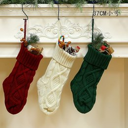 knitted gift bags Canada - 37CM Christmas Knitted Stocking Creative Home Party Christmas Tree Hanging Decor Candy Gift Storage Bag 100pcs