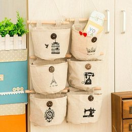 $enCountryForm.capitalKeyWord Australia - 1pc Home Canvas Storage bag Creative Wardrobe Hang Bag Wall Pouch Cosmetic Toys Organize Pockets stationery Contain for Room