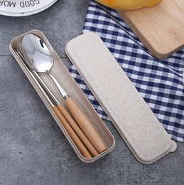korean dinnerware UK - Portable Travel Cutlery Set Chopstick Spoon 2-Piece Suit Stainless Steel Flatware With Wood Handle Tableware Dinnerware Set Student Gift