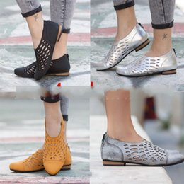 Gold shoes low heel online shopping - Hollow Out Zipper Single Shoes Women Flattie Low Heel Large Size Shoe Rubber Material Breathable Anti Piercing Yellow Gray hta C1