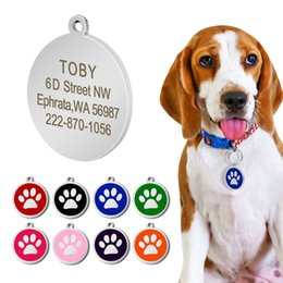 $enCountryForm.capitalKeyWord NZ - Stainless Steel Personalized Dog ID Tag Dog Accessories Metal Customized Round Pet ID Tags Plate Pet 8 Colors