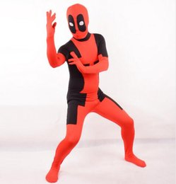 deadpool costume black UK - Lady Deadpool Costume Black and Red Spandex Bodysuit with Ponytail Hole halloween costumes for women female girls