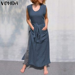 $enCountryForm.capitalKeyWord NZ - VONDA Dresses Women Apron 2019 Sexy Sleeveless Side Split Belt Bow Tank Maxi Long Dress Plus Size Female Casual Loose Vestidos