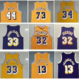 Großhandel Best Sports Shirts Weinlese # 73 Dennis Rodman Jersey # 33 Abdul Jabbar Jerseys Shaquille 34 # O'neal Jersey 44 # Jerry West Wilt Chamberlain 13 #