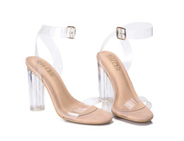 $enCountryForm.capitalKeyWord Australia - Newest Womens Pumps Buckle Sandals High Heels Shoes Celebrity Wearing Simple Style PVC Clear Transparent Strappy GGX-011
