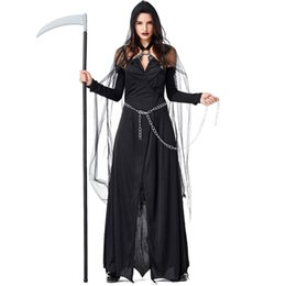 devil costumes women Australia - Sexy Adult Women New Halloween Vampire Cosplay Costumes Black Net Witch Devil Cosplay Costumes 4PCS Set Dress+Chain+Cloak+sleeve