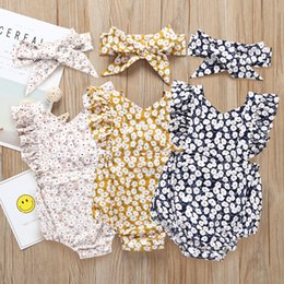 kids summer christmas clothes 2019 - INS baby romper infant girls floral printed falbala fly sleeve jumpsuits+lace-up Bows headbands 2pcs sets toddler kids c