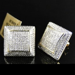 Hip Hop Geometry Square Iced Out Bling Stud Pendientes Color oro Micro Pave Cubic Zircon Stud Pendiente para hombres Mujeres Z4m327 en venta