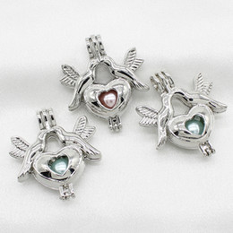 Peace Dove Pendant Australia - New Silver Peace Bird Dove Heart Pearl Cage Jewelry Making Pendant Perfume Essential Oil Diffuser Lockets Necklace Charms