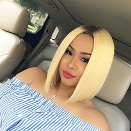 Two Toned Bob Hairstyle Wigs Australia - blonde ombre human hair wig bob style summer hot ombre full lace wigs with dark roots brazilian hair front lace wigs two tone