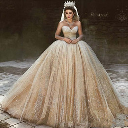 Discount sparkly princess ball gown wedding dresses - Luxury Arabic Gold Wedding Dresses 2019 Sequins Plus Size Ball Gown Royal Wedding Dress Sweetheart Bead Sparkly Princess