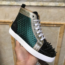 Women blue casual lace dress online shopping - New Luxury Designer Sneakers Men Women Casual Shoes Party Dress High cut Studded Spikes Platforms Red Bottom Trainers Shoes Sneaker