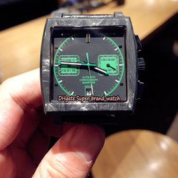 mens square luxury watch NZ - Luxury version Monaco Bamford CAW2117.FC6271 Carbon Fibre Case Green Dial 7750 Mechanical Mens Watch Sapphire Leather Strap Sport Watches