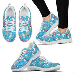 $enCountryForm.capitalKeyWord NZ - Noiydesigns Cute 3d Cartoon Nurse Printing Flat Shoes Women Lace-up Sneakers Ladies Fashion Mesh Flats for Females Nursing Shoes