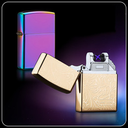$enCountryForm.capitalKeyWord Australia - Double fire cross twin arc pulse Electronic Cigarette lighter electric arc gold colorful charge usb lighters with box 2pcs