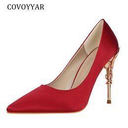 $enCountryForm.capitalKeyWord NZ - COVOYYAR 2019 Women Pumps Elegant Pointed Toe Thin High Heels Party Wedding Shoes Shallow Metal Decoration Shoes Woman WHH165