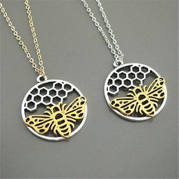honey bee pendant Australia - 1pcs Trendy cute bee Necklace round honeycomb Charm pendant Gold Silver Color 2018 honey Jewelry for Girls Women