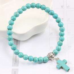 turquoise crosses for bracelets 2019 - Natural Turquoises Matte Black Stone Beads Strand Bracelets for Women Men Jesus Cross Charms Beaded Bracelet Jewelry Acc