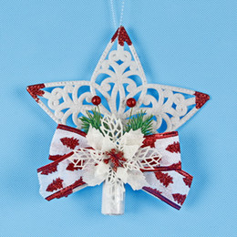 Wholesale wells star for sale – custom Hollowing Out Five Pointed Star Pendant Plastic Christmas Tree Top Ornament Parts Opp Packing Sell Well With High Quality pj J1
