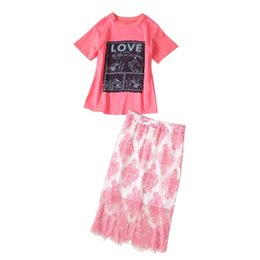 $enCountryForm.capitalKeyWord UK - Star with the same paragraph printed short-sleeved T-shirt + high waist split lace A word half skirt pink suit