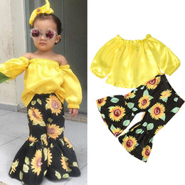 Wholesale quarter pants resale online – Kids Girls Outfits Children Strapless Shoulder Tops Sunflower Flare Pants set Spring Autumn Baby Clothing Sets M1303