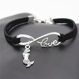 LittLe chains for men online shopping - New Fashion Elegant Antique Silver Little Mermaid Charm Infinity Love Black Leather Suede Bracelet for Women Men Gift Unique Mermaid Jewelry
