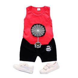 $enCountryForm.capitalKeyWord Australia - Summer 2pcs Suits Baby Boy Clothing Set Cartoon Boys Girls Vest Clothes Set Cotton Sleeveless Sports T Shirts Toddler