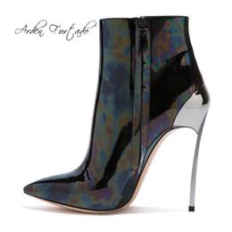 $enCountryForm.capitalKeyWord Australia - Arden Furtado 2019 spring autumn high heels stilettos pointed toe zipper fashion ankle boots metal heels large size booties 44