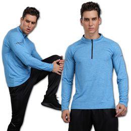 Gym Polyester T Shirt Long Sleeves NZ - Gym Long Sleeve Mens Quick Dry Running Long Sleeve Shirt Jogging Fitness Training Bike Cycling Outdoor T-Shirt Men Sports