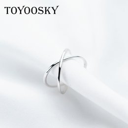 Hollow Fingers Australia - Genuine 925 Silver X Hollow Cross Open Ring Fashion Contracted Simple Adjustable Finger Jewelry For Women Girls Wholesale