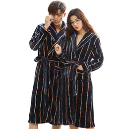 2277db55603 New Winter Robes Thick Warm Flannel Couple Pajamas Long Sleeve Striped  Casual Soft Loose Plus Size M-3xl Lovers Bathrobe Pijamas
