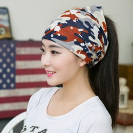 e3679a53cd5 New Fashion Camouflage Beanies Hat For Women 3 Ways To Wear Scarf Hat  Skullies Warm Spring   Autumn Bonnet