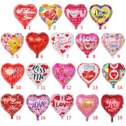 Love Hearts Toys NZ - 18'' Valentine's Day Decorations Balloon I Love You Print Balloons Toy Aluminum film Love Heart Balloon For Wedding Party Festival Supplies
