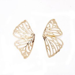 Discount big butterfly earrings - Gold Color Hollow Butterfly Earrings Elegant Big Fan Shaped Metal Women Stud Earrings Fashion Jewelry Accessories 2019 N