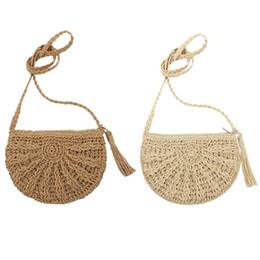 c14e0f62159a Вязаный мешок онлайн-Чешская тканая кисточка выдолбленная пляжная сумка  женская крючком соломенная клатч крючком ручной
