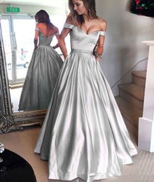 White Beaded Short Prom Dresses Australia - Silver Prom Dresses Long 2019 A-line Off the Shoulder Short Sleeves Beaded Sash Satin Floor Length Formal Evening Dress Party Gown